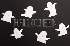 Typeface phrase for haloween logo on black background stock image
