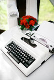 White typewriter at wedding for newlyweds messages and wishes. Wedding decoration. Stock Photos
