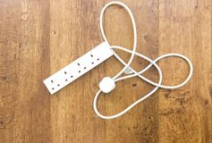 White UK power extension. Lead with multiple sockets royalty free stock photos