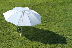 White umbrella. Lying on the grass stock images