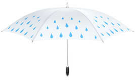 White umbrella with blue rain drops Stock Images