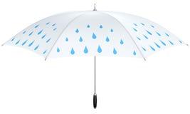 White umbrella with blue rain drops Stock Images