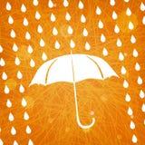 White umbrella and rain drops on abstract  orange background. White umbrella and rain drops on abstract modern triangular orange background Stock Photo
