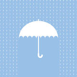 White umbrella symbol on blue background Stock Photo