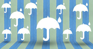 White umbrella on vintage wall. Use as background vector illustration