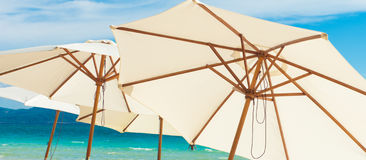 White umbrellas Stock Photo
