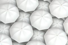 White umbrellas background Stock Photo