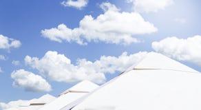 White umbrellas stock image