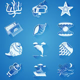 White underwater icons Royalty Free Stock Photos