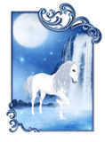 White Unicorn. A blue Unicorn wading in the water - the moon shining and a fabulous waterfall can be seen Royalty Free Stock Images