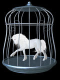 White unicorn. A white Unicorn is locked up in a silver cage Royalty Free Stock Photography