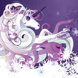 White unicorn. Beautiful cartoon white unicorn with decorative violet mane Stock Images