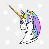 White unicorn head Stock Images