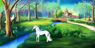 White Unicorn in a Magic Forest Near a Fairy Tale  Castle Stock Photos