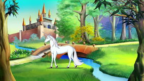 White Unicorn near a Fairy Tale Castle. White Unicorn Walking near a Fairy Tale Castle in a Summer Day. Handmade animation,  4K motion graphic stock video footage