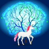 White unicorn with a pink mane near a magical glowing tree. Vector Illustration Stock Images