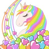 White Unicorn with rainbow hair and hearts vector illustration for children design stock illustration