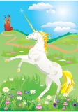 White unicorn rearing up on its hind legs Royalty Free Stock Photos
