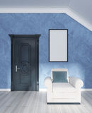 White upholstered chair at classic doors with white mockup poste Stock Photo