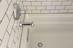 White upscale bathtub in Master Bathroom royalty free stock image