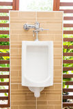 White urinals with ceramic tile on wall. Stock Image