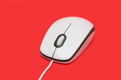 White USB computer mouse with cable Stock Photos