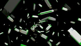 White usb flash drives on black. In backgrounds stock footage