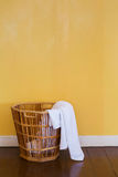 White used towels in wicker basket Stock Images