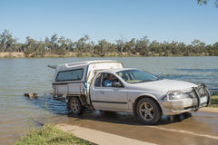 Ute and Trailor at Boat Ramp. Royalty Free Stock Image
