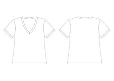 White V-Neck T-Shirt Stock Photo