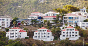 White Vacation Homes with Red Roofs on Hillside Royalty Free Stock Photo