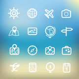 White vacation icons clip-art on color background Stock Photos