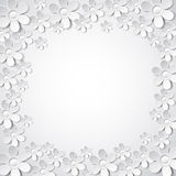 White valentine background with many flowers,  vec Royalty Free Stock Photos