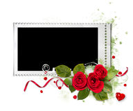 White valentine frame with red roses Stock Photos