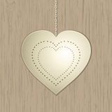 White valentine heart on wood Royalty Free Stock Photography