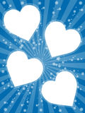White Valentine hearts on blue. Illustration of white Valentine hearts on blue decorated background with stars and radiating bands Stock Image