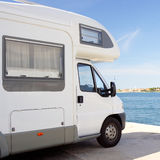 White Van. On the beach Royalty Free Stock Photo