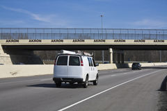 White Van entering Akron Stock Photography