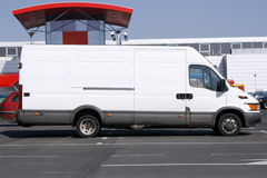 White van. In front of mall Stock Images