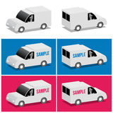 White van. Front and rear, cartoon 3d illustration Royalty Free Stock Photography