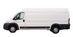 White van isolated stock images
