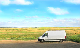 White van on parking outdoors Royalty Free Stock Photo