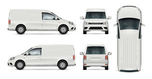 White van vector template. Car vector template for car branding and advertising. Isolated mini van set on white background. All layers and groups well organized Royalty Free Stock Photos