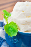 White vanilla ice-cream with mint leaf in porcelain bowl. Indoor royalty free stock photo