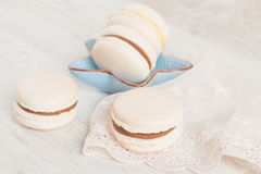 White vanilla macaroons. Pastel colored Stock Photo