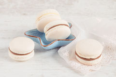 White vanilla macaroons. Pastel colored Royalty Free Stock Photos