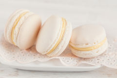 White vanilla macaroons. Pastel colored Royalty Free Stock Photography