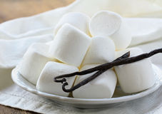White vanilla marshmallow on a plate Royalty Free Stock Photography