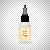 White vape bottle with liquid or aroma. Electronic cigarette accessorize, label. 3d object mockup for vaporizer design Stock Photography