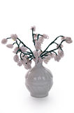 White vase with flowers from glass beads and wire Stock Photos